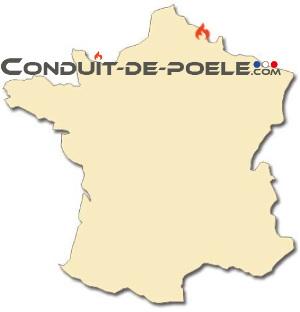 Carte de France avec la localisation conduit-de-poele